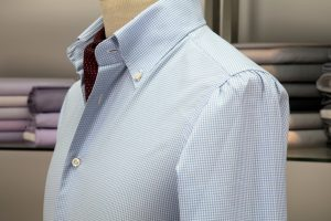 a shirt with a neapolitan shoulder in blue/white checked royal oxford egyptian cotton with mother of pearl buttons
