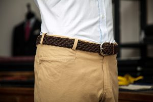 trousers in beige gabardine cotton with belt-loops